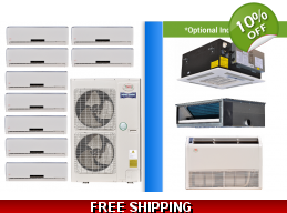 YMGI Multi 9 Zone 52K Mini Split Heat Pump AC Ductless Cassette Ducted