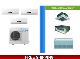AirCon 3 Zone 24K Mini Split Heat Pump AC Ductless Cassette Ducted