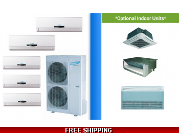 AirCon 5 Zone 42K Mini Split Heat Pump AC Ductless Cassette Ducted