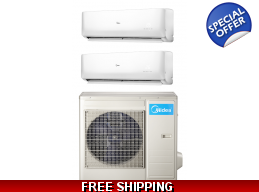 Midea 16 Seer 2x18000Btu Oasis 2 Zone Mini Split Heat Pump AC
