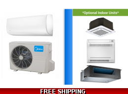Midea 9000 BTU Mini Split Hyper Heat Pump AC Ductless Cassette Ducted