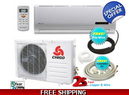 Chigo 9000 Btu 110V Mini Split Heat Pump Air Con..