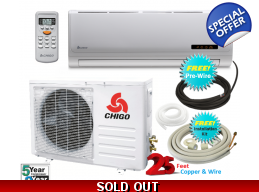 Chigo 9000 Btu 16 Seer 110V Mini Split Heat Pump..