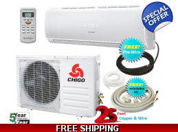 Chigo 9000 Btu 110V Mini Split Heat Pump Air Conditioner 20 SEER