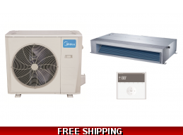 Midea 36000 BTU 220v Mid-Static Ducted Mini Split Heat Pump AC
