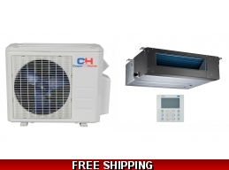 C&H 9000 BTU 20.5 SEER Slim Ducted Mini Split Hyper Heat Pump AC