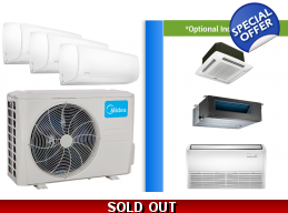 Midea 3 Zone 27K Mini Split Heat Pump AC Ductless Cassette Ducted