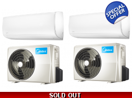 2x30000 BTU 20 SEER Mission Mini Split Hyper Heat Pump AC by Midea