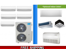 Midea 5 Zone 48K Mini Split Heat Pump AC Ductless Cassette Ducted