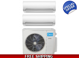 Midea 2 Zone 18K Mini Split Heat Pump AC Ductles..