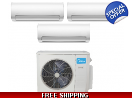 Midea 3 Zone 27K Mini Split Heat Pump AC Cassette Ducted Options