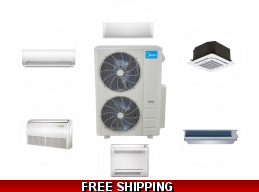 Midea 48K Multi Zone Mini Split Heat Pump AC Ductless Cassette Ducted