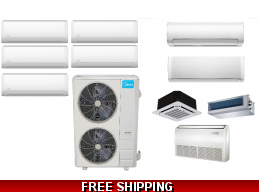 Midea 5 Zone Heat Pump AC Ductless Cassette Ducted Options