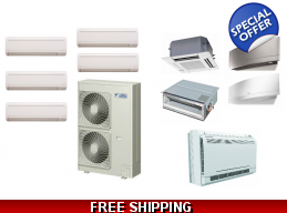 Daikin 5 Zone 48K Mini Split Heat Pump AC Ductless Cassette Ducted