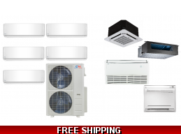 C&H 5 Zone 48K Mini Split Heat Pump AC Ductless Cassette Ducted