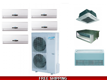 AirCon 5 Zone 42K Ductless Heat Pump AC Console Cassette Ducted
