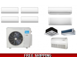 Midea 4 Zone Ductless Heat Pump Console Cassette Ducted Options