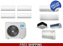 Midea 4 Zone 21 SEER Ductless Mini Split Heat Pu..