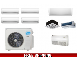 Midea 4 Zone 36K Ductless Heat Pump AC Cassette Ducted
