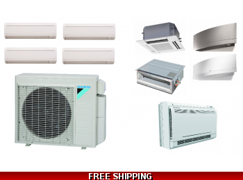 Daikin 4 Zone 36K Mini Split Heat Pump AC Ductless Cassette Ducted