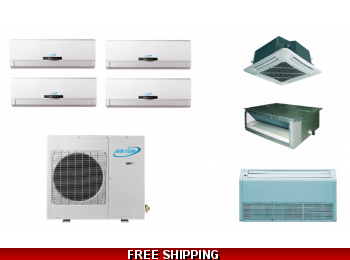 AirCon 4 Zone 30K Ductless Heat Pump AC Console Cassette Ducted