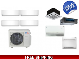 C&H 4 Zone 22.5 SEER Ductless Mini Split Heat Pump Air Conditioner