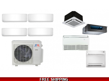 C&H 4 Zone 36K Ductless Heat Pump AC Console Cassette Ducted