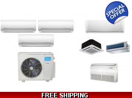 Midea 3 Zone 27K Btu Ductless Heat Pump AC Cassette Ducted