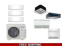 C&H 3 Zone 27K Mini Split Heat Pump AC Ductless Cassette Ducted