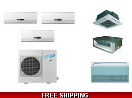 AirCon 3 Zone 24K Ductless Heat Pump AC Console Cassette Ducted