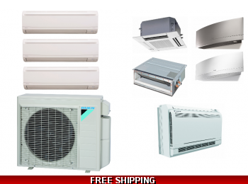 Daikin 3 Zone 24K Mini Split Heat Pump AC Ceiling Cassette Ducted