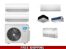 Midea 2 Zone 18K Btu Ductless Heat Pump AC Cassette Ducted