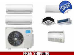 Midea 2 Zone 18K Mini Split Heat Pump AC Ductless Cassette Ducted