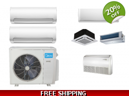 Midea 2 Zone 21.1 SEER Ductless Mini Split Heat ..