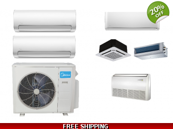 Midea 2 Zone 21.1 SEER Ductless Mini Split Heat Pump Air Conditioner