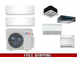 C&H 2 Zone 18K Ductless Heat Pump AC Console Cassette Ducted