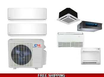 C&H 2 Zone 18K Mini Split Heat Pump AC Ductless Cassette Ducted