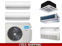 Midea 2×18000btu Mini Split Heat Pump AC Cassette Ducted Options