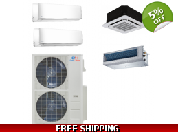 C&H 2×24000btu Mini Split Heat Pump AC Ductless Cassette Ducted