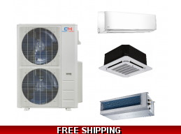 C&H 48K Multi Zone Mini Split Heat Pump AC Ductless Cassette Ducted