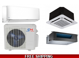 C&H 18000 BTU Ductless Mini Split Hyper Heat Pump AC Cassette Ducted