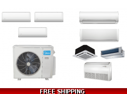 Midea 3 Zone Ductless Heat Pump AC Console Cassette Ducted Options