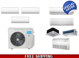Midea 3 Zone 20 SEER Ductless Mini Split Heat Pu..