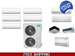 Midea 5 Zone 20.5 SEER Ductless Mini Split Heat Pump Air Conditioner