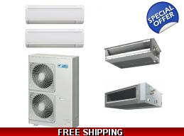 Daikin 2x24000 Btu Dual Zone Mini Split Heat Pump Air Conditioner