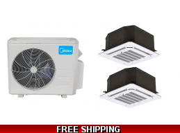 Midea 21 Seer 2x12000 Btu Dual Zone Cassette Mini Split Heat Pump AC