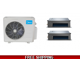 Midea 21 Seer 2x9000Btu Dual Zone Ducted Mini Split Heat Pump AC