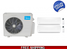 Midea 21 Seer 2×12000btu Dual Zone Mini Split Heat Pump AC