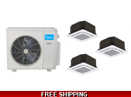 Midea 21 Seer 3x9000 Btu 3 Zone Cassette Mini Split Heat Pump AC