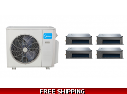 Midea 21 Seer 4x12000btu 4 Zone Slim Ducted Mini Split Heat Pump AC